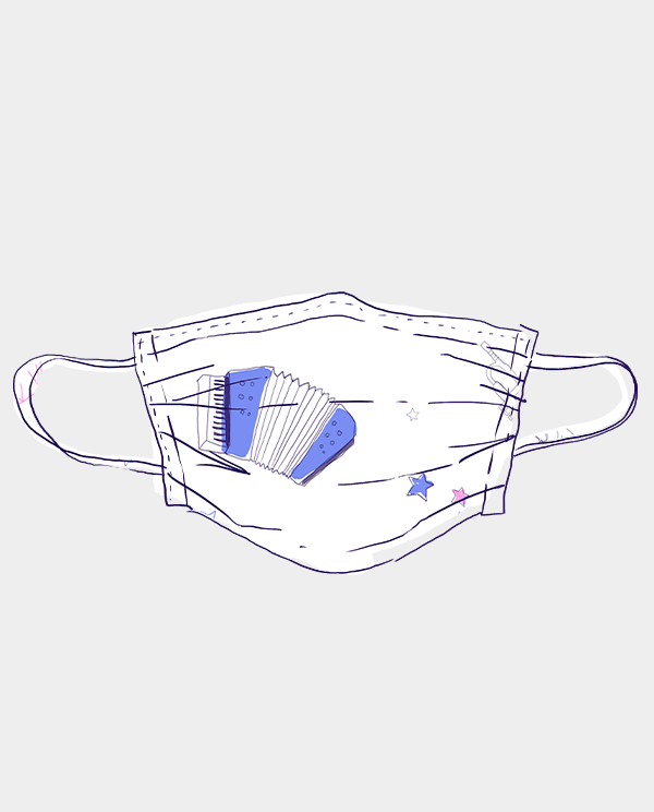 Stoffmaske Instrumente Blau Männer, Frauen und Kinder